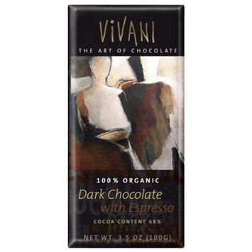 Vivani, Chocolate Bar Dark With Espresso, 3.5-Ounce (10 Pack)