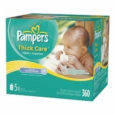 Pampers Thickcare Wipes, Bulk Pack, Touch of Chamomile 360 Ea