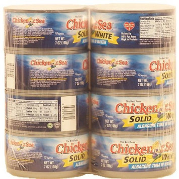 Chicken Of The Sea albacore tuna in water, solid white, 7-oz 8 pk Cans