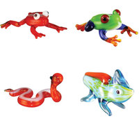 BrainStorm Looking Glass Miniature Glass Figurines, 4-Pack, Dart Frog/Tree Frog/Sidewinder/Chameleon