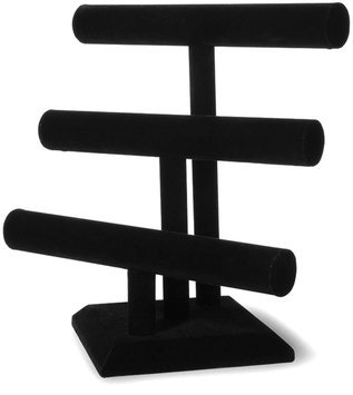 Darice Triple Bar Jewelry Stand - Black Velvet