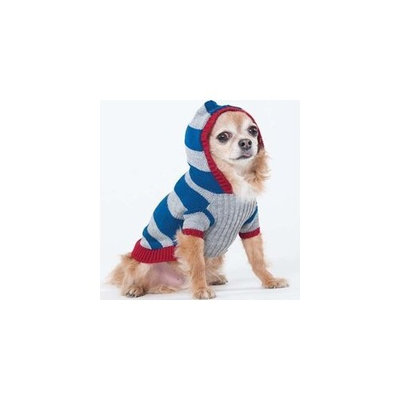 Fashion Pet Lookin Good Collegiate Striped Hoodie Sweater for Dogs, Medium, Blue