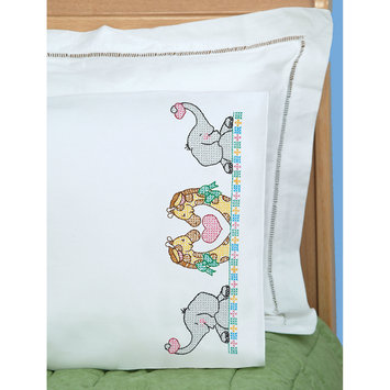 Jack Dempsey Inc. Children's Stamped Pillowcase With White Perle Edge 1/Pkg-Noah's Ark