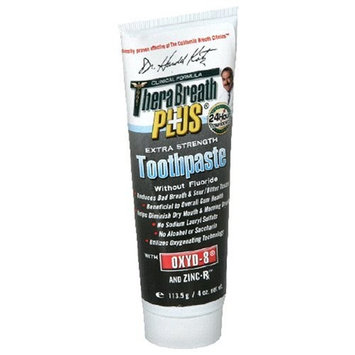Dr. Harold Katz TheraBreath PLUS Professional Formula Fresh Breath Toothpaste - Extra Strength, 4 Ounce (Pack of 2)