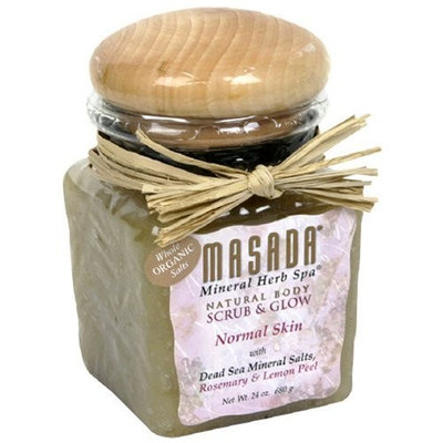 Masada Mineral Herb Spa Natural Body Scrub & Glow, Rosemary & Lemon Peel, 24 oz (680 g) (Pack of 2)
