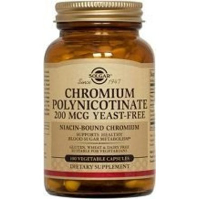 Solgar Chromium Polynicotinate Vegetable Capsules, 200 Mcg, 50 Count