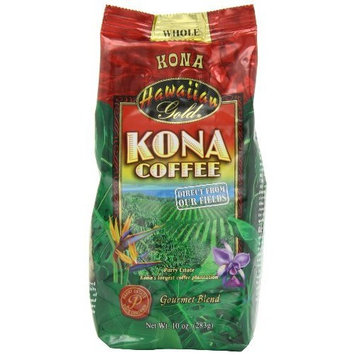 Hawaiian Gold Gold Kona Whole Bean Coffee, 10 - Ounce Bag (Pack of 3)