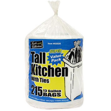 Nicole Home Collection 02026 13 Gallon Tall Kitchen Bags with Ties on a Roll 215 per Roll - 1290 Per Case
