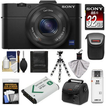 Sony Cyber-Shot DSC-RX100 II Wi-Fi Digital Camera (Black) with Sony 32GB Card + 2 Cases + Battery + Flex Tripod + Accessory Kit