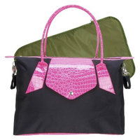 Trend Lab Rendezvous Tote Diaper Bag - Black/Magenta Pink by Lab