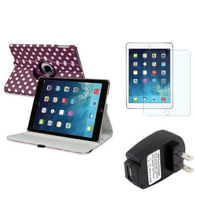 Insten INSTEN Purple/White Polka Dot 360 Rotate Leather Case Cover+Guard For Apple iPad Air 5