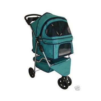 Bestpet Classic Fashion Teal 3 Wheels Pet Dog Cat Stroller w/Rain Cover
