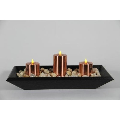 Delighted Home DH-3PPTBLC Black 3 Pillar Polly Trough with 1 6 in. and 2 4 in. Copper Pillars and Multi Colored Rocks