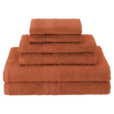 Blue Nile Mills Eco Friendly 6-Piece 100% Ring-Spun Cotton Durable Towel Set, Copper