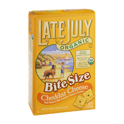 Late July Organic Bite Size Cheddar Cheese Crackers
