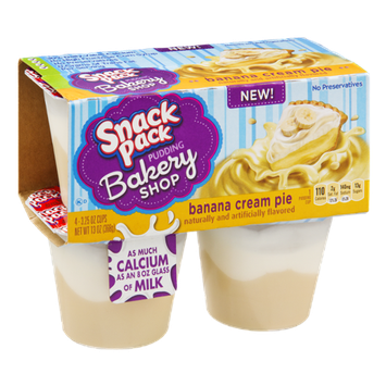Snack Pack Bakery Shop Banana Cream Pie Pudding - 4 PK