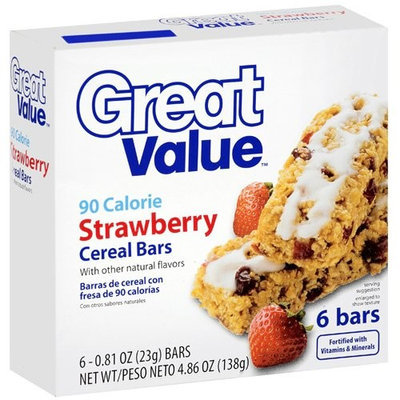 Great Value Strawberry Cereal Bars, 4.86 oz