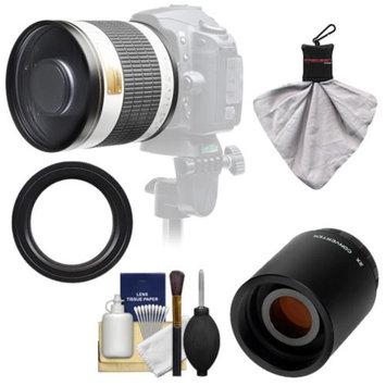 Samyang 500mm f/6.3 Mirror Lens (White) with 2x Teleconverter (=1000mm) for Sony Alpha DSLR SLT-A35, A37, A55, A57, A65, A77 Digital SLR Cameras