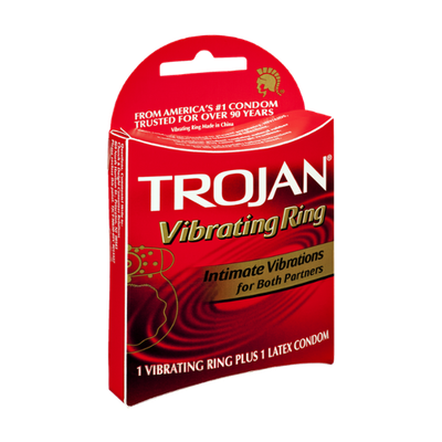 Trojan Intimate Vibrations 1-Vibrating Ring Plus 1-Latex Condom - 2 CT