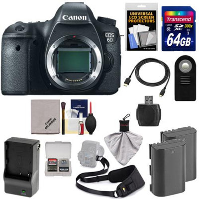 Canon EOS 6D Digital SLR Camera Body with 64GB Card + 2 Batteries & Charger + Sling Strap + HDMI Cable + Remote + Accessory Kit
