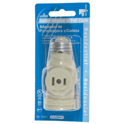 Leviton 008-1406 IV Ivory 2 Outlet Lamp Socket and Pull Chain