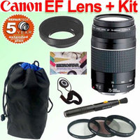 Canon EF 75-300mm f/4-5.6 III Telephoto Zoom Lens Deluxe Accessory Bundle