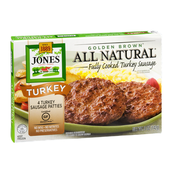 Jones Dairy Farm Golden Brown Turkey Sausage Patties All Natural - 4 CT