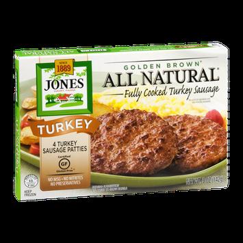 Jones Dairy Farm Golden Brown Turkey Sausage Patties All Natural - 4 CT