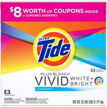 Tide Ultra  Plus Bleach Vivid White + Bright Clean Breeze Powder Laundry Detergent