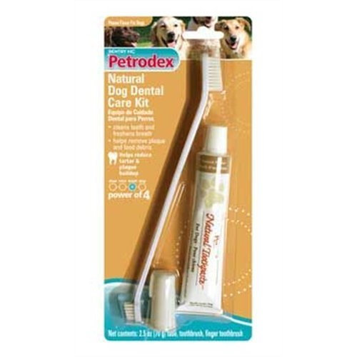 Petrodex Natural Dog Dental Care Kit, Peanut Toothpaste with 2 Toothbrushes