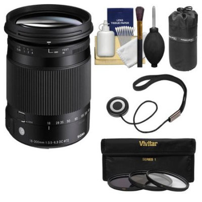 Sigma 18-300mm f/3.5-6.3 Contemporary DC Macro HSM Zoom Lens (for Sony Alpha A-Mount) with Pouch + 3 UV/CPL/ND8 Filters + Kit