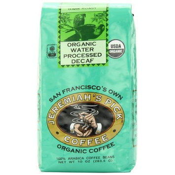 Jeremiah's Pick Coffee Co. Jeremiah's Pick Coffee Organic Water Processed Decaf, Raisin & Chocolate Round and Robust Whole Bean Coffee, Dark Roast, 10 Ounce Bag