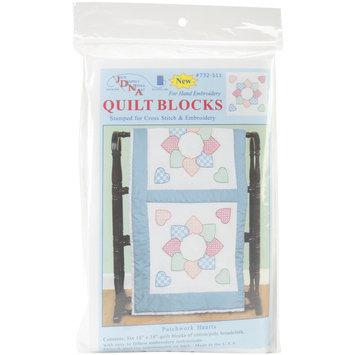 Jack Dempsey Patchwork Hearts Stamped White Quilt Blocks, 18