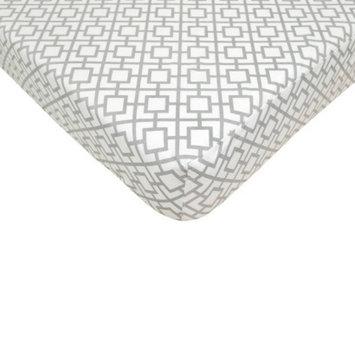 TL Care Grey Lattice Fitted Crib Sheet