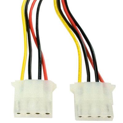 Kingwin SAC-05 SATA Power Adapter Cable - 15-Pin SATA Power Male to Dual Molex 4-Pin Female