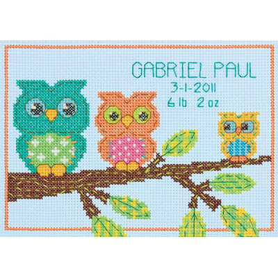 Dimensions Acquisition Llc Dimensions Owl Birth Record Mini Counted Cross Stitch Kit - DIMENSIONS ACQUISITION LLC