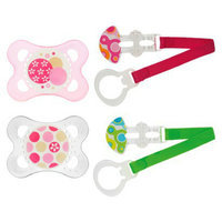 MAM Baby 2+ Months Pink Trends Pacifier with 2 Keeper Clips 4-pc.