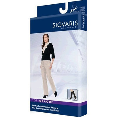Sigvaris 842C Soft Opaque 20-30 mmHg Closed Toe Knee Highs Size: Large Short (LS), Color: Graphite 91