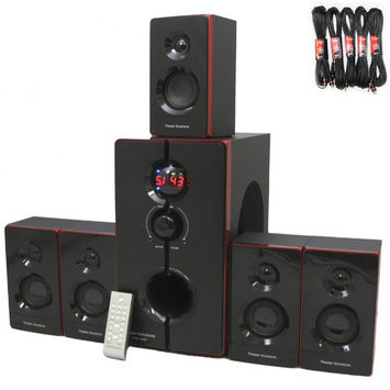 Theater Solutions TS516BT Home Bluetooth 5.1 Speaker Surround System 800 Watts with 5 Extension Cables TS516BT-5