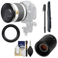 Samyang 500mm f/6.3 Mirror Lens (White) with 2x Teleconverter (=1000mm) + Monopod Kit for Canon EOS 60D, 7D, 5D Mark II III, Rebel T3, T3i, T4i Digital SLR Cameras