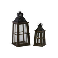 Urban Trends Wood Lantern with Ring Hanger and Black Metal Top Set of Two Stained Wood Finish Espresso Brown