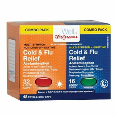 Walgreens Cold & Flu Relief Liquid Caps, Combo Pack, 48 ea