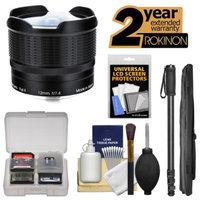 Rokinon 12mm f/7.4 RMC Fisheye Lens (for Fujifilm X Cameras) with Ext. Warranty + Monopod Kit for Fuji X-A1, X-E1, X-E2, X-M1, X-T1, X-Pro1 Cameras
