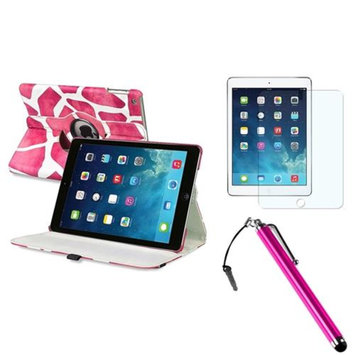 Insten INSTEN Pink Giraffe 360 Leather Case Cover+AG Protector/Stylus For Apple iPad Air 5 5th Gen