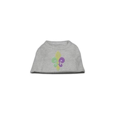 Ahi Mardi Gras Fleur De Lis Rhinestone Dog Shirt Grey XXL (18)