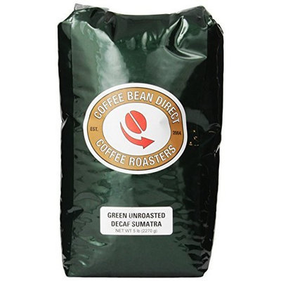 Coffee Bean Direct Green Unroasted Decaf Sumatra, Whole Bean Coffee, 5-Pound Bag