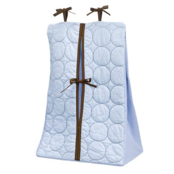 Bacati Quilted Diaper Stacker - Blue/Chocolate