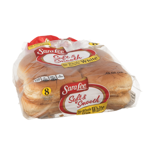 Sara Lee Soft & Smooth Hamburger Buns Whole Grain White - 8 CT
