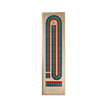 Wood Expressions Classic Maple Red, Green & Blue Track Cribbage Set