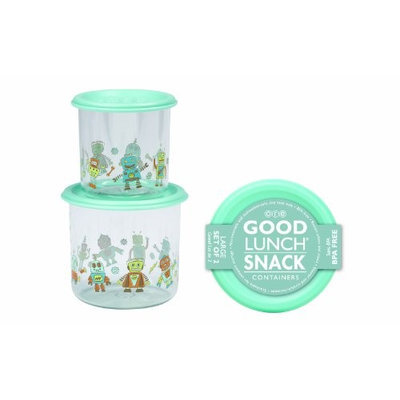 SugarBooger Good Lunch Large Snack Containers (Retro Robot) - 2-pack